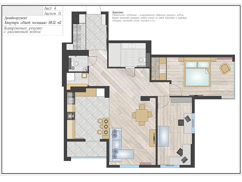 Планировочный дизайн с мебелью